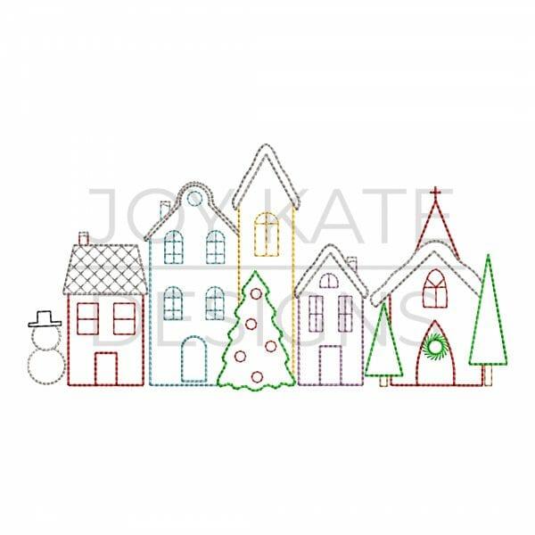 Christmas Village Vintage Stitch Embroidery Design