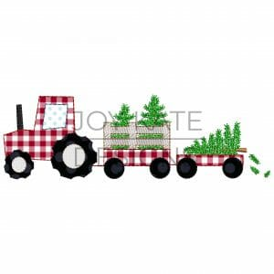 Vintage bean stitch tractor with Christmas trees applique design for machine embroidery