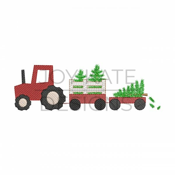 Vintage sketch stitch tractor with Christmas trees machine embroidery design