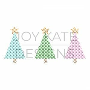Christmas tree three in a row cross stitch machine embroidery design