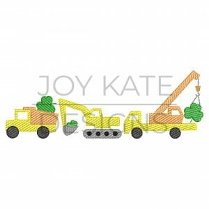 St. Patrick's Day Construction Vehicle Trio Light Fill Embroidery Design. Dump truck, excavator, crane, and shamrocks.