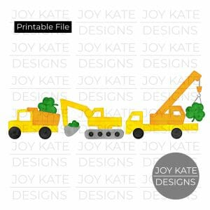 St. Patrick's Day construction vehicles watercolor PNG clipart image