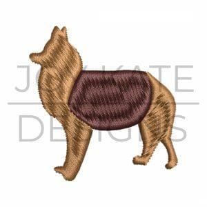 Mini collie dog satin embroidery design