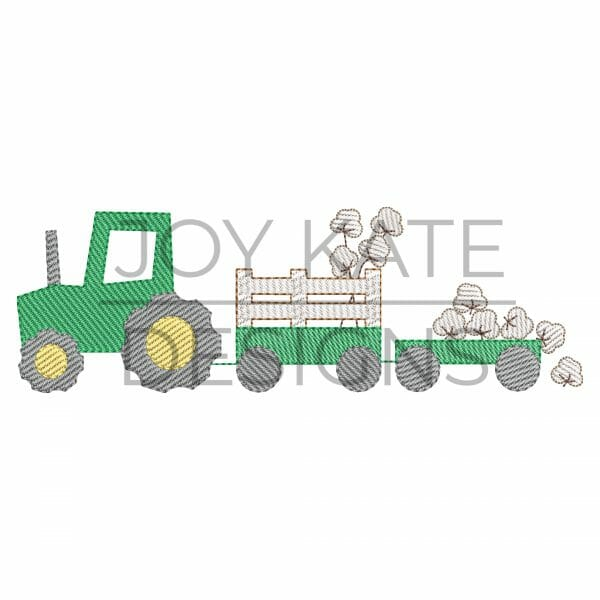 Light Fill Cotton Farm Tractor Machine Embroidery Design