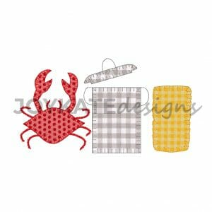 Blanket Stitch Three in a Row Crab Boil Design for Machine Embroidery