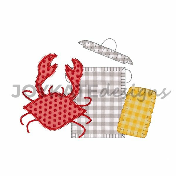 Vintage Bean and Blanket Stitch Crab Boil Design for Machine Embroidery