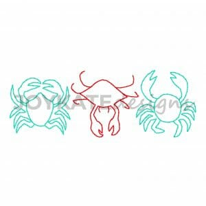Vintage Stitch Crab Three in a Row Design for Machine Embroidery