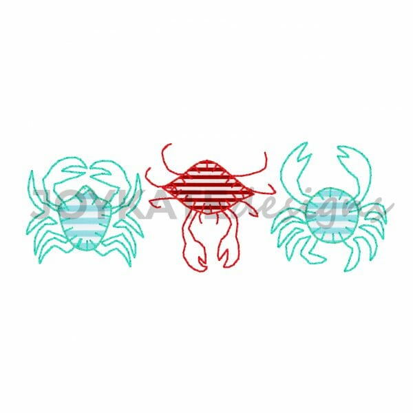 Vintage Applique Crab Three in a Row Design for Machine Embroidery