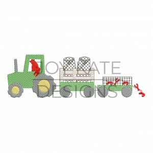 Light Fill Farm Tractor with Crawfish Traps Machine Embroidery Design