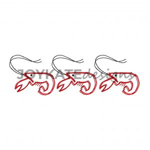 Set of 3 Bean Stitch Louisiana Crawfish or Lobster for Machine Embroidery