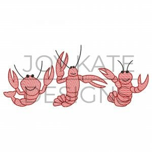 Row of three light sketch fill crawfish embroidery design