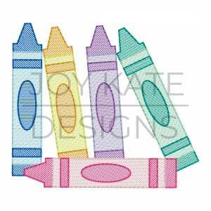 Crayon light fill machine embroidery design