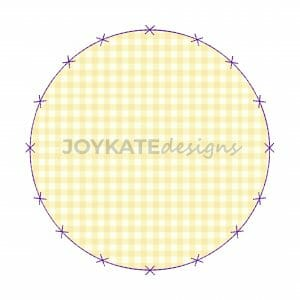 Raggy Bean Stitch Circle Applique Patch with X Border Machine Embroidery Design