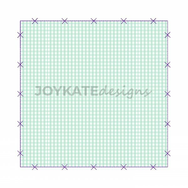 Raggy Bean Stitch Square Applique Patch with X Border. Machine Embroidery Design.