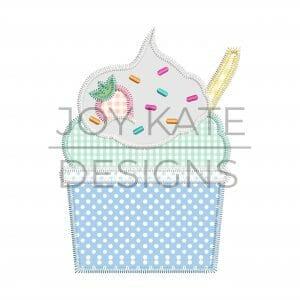Cup of frozen yogurt zigzag applique design