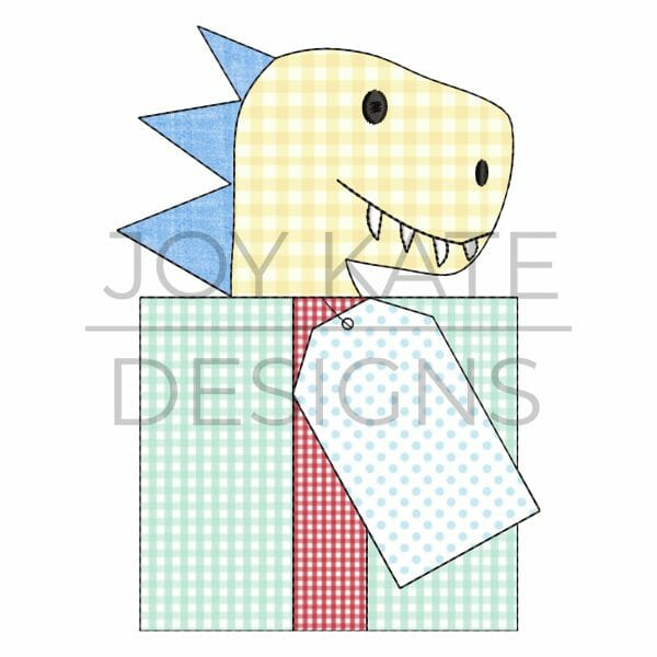 Dinosaur Gift Applique Design for Machine Embroidery