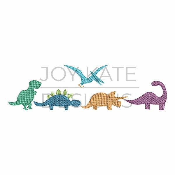 Row of four light sketch fill dinosaurs machine embroidery design
