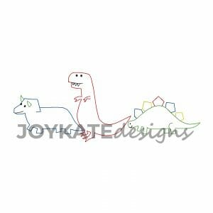 Vintage Dinosaur Design for Machine Embroidery