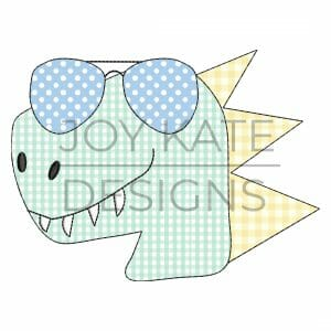 Dinosaur Face with Sunglasses Vintage Stitch Applique Design