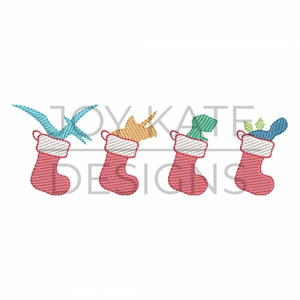 Row of four light sketch fill Christmas dinosaurs in stockings embroidery design
