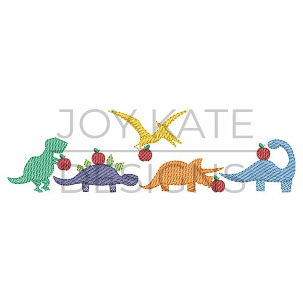 Row of four light sketch fill apple dinosaurs embroidery design