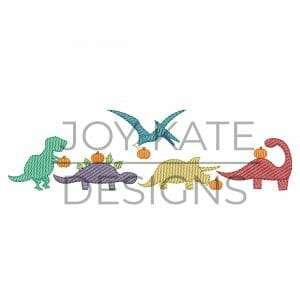 Row of four light sketch fill fall dinosaurs embroidery design