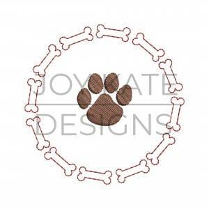 Dog Christmas ornament embroidery design