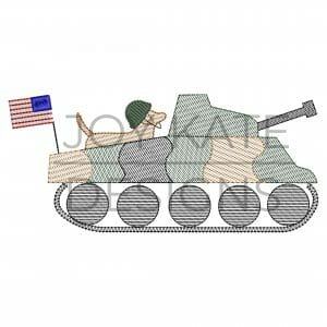 Dog with military tank sketch embroidery design