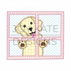 Puppy Dog in Window Applique Design for Machine Embroidery