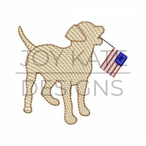 Dog holding American Flag Light Fill Machine Embroidery Design
