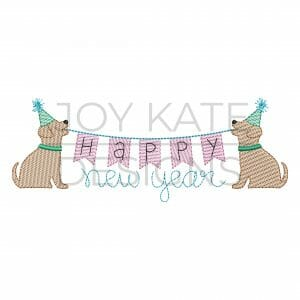 Happy New Year Pups Sketch Embroidery Design