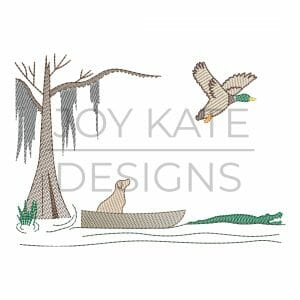 Duck hunting dog in Louisiana swamp light fill/low density machine embroidery design