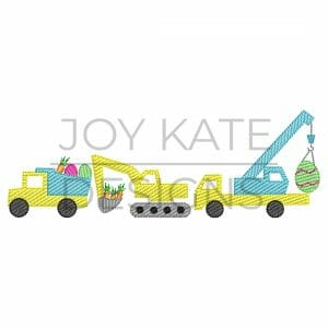 Easter Construction Vehicle Trio Light Fill/Low Density Embroidery Design