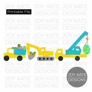 Easter construction vehicles watercolor PNG clipart image