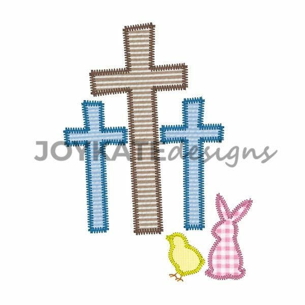 Zigzag Stitch Vintage Style Easter Rabbit and Three Crosses