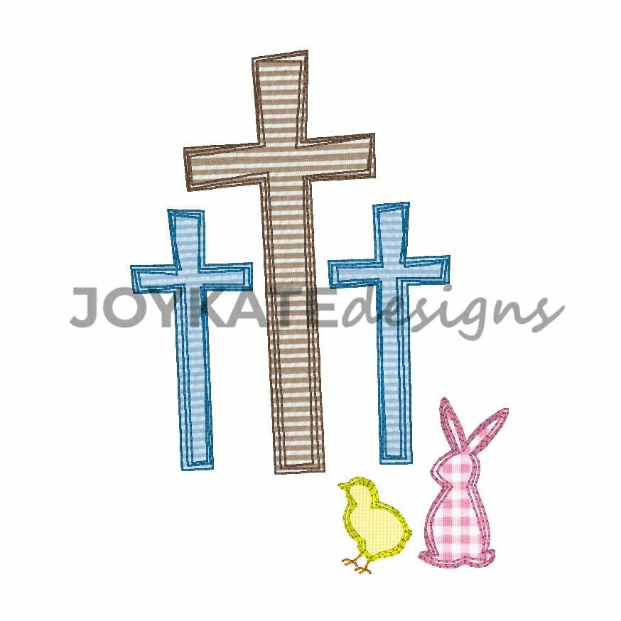 4847109b19a078 Vintage Style Easter Rabbit and Three Crosses. Christian Machine Embroidery  Design.