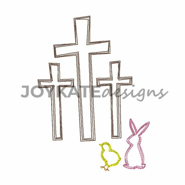 Vintage Style Easter Rabbit and Three Crosses. Christian Machine Embroidery Design.