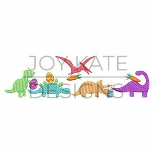 Row of five low density/sketch fill Easter dinosaurs embroidery design