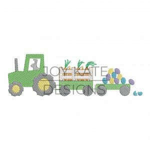 Light Fill Easter Farm Tractor with Bunny, Carrots, and Eggs Machine Embroidery Design