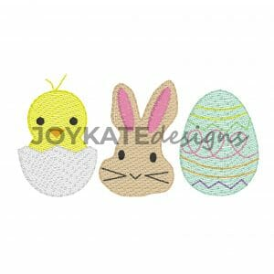 Bean Stitch and Light Fill Easter Bunny, Egg, and Chick for Machine Embroidery
