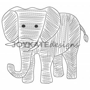 Vintage Style Elephant Design for Machine Embroidery