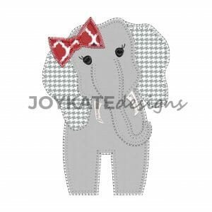 Vintage Blanket Stitch Girl Elephant Applique Design for Machine Embroidery