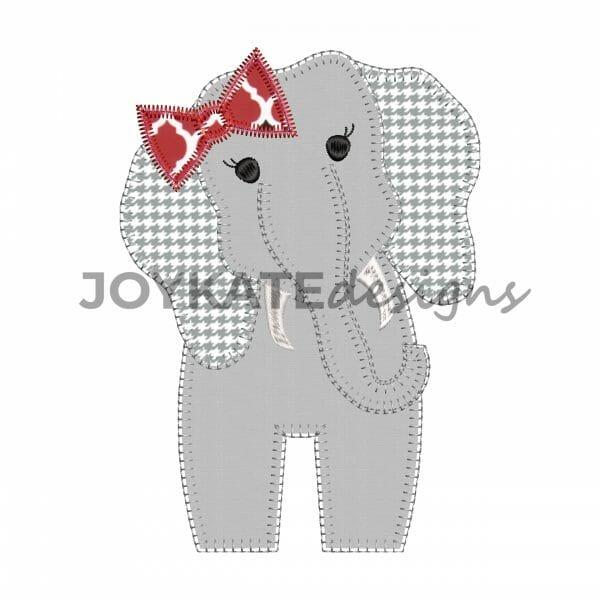 Vintage Blanket Stitch Girl Elephant Applique Design for Machine Embroidery