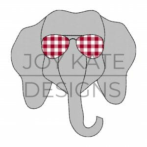 Vintage Elephant Face with Sunglasses Applique Design for Machine Embroidery