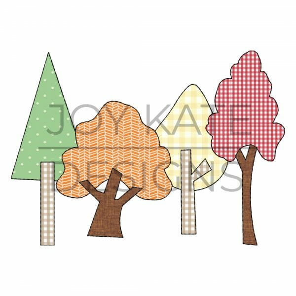Row of 4 colorful fall trees bean stitch applique machine embroidery design