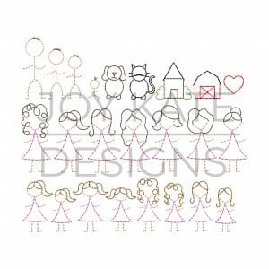 Stick figure people embroidery designs for Christmas ornament