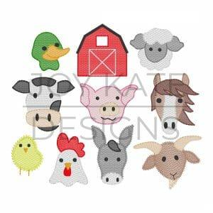 Farm Animal Set Sketch Embroidery Design