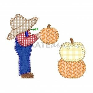 Vintage Blanket Stitch Farmer Boy with Pumpkins Applique Design for Machine Embroidery