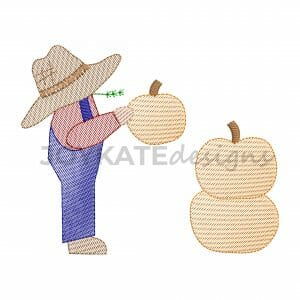 Vintage Light Fill Farmer Boy with Pumpkins Machine Embroidery Design