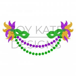 Masks and beads sketch fill Mardi Gras swag embroidery design